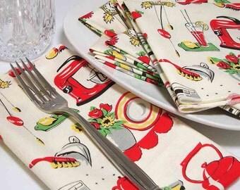 Dinner  Napkins -  Retro 50's Kitchen Motif -  Cotton - Reusable -  set of 4