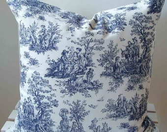 Pillow Cover in navy and white toile print - 18 inch with zipper closure