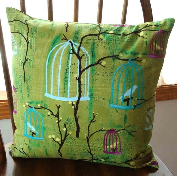 Pillow Cover with Hanging Bird Cages  18 inch with Zipper Closure