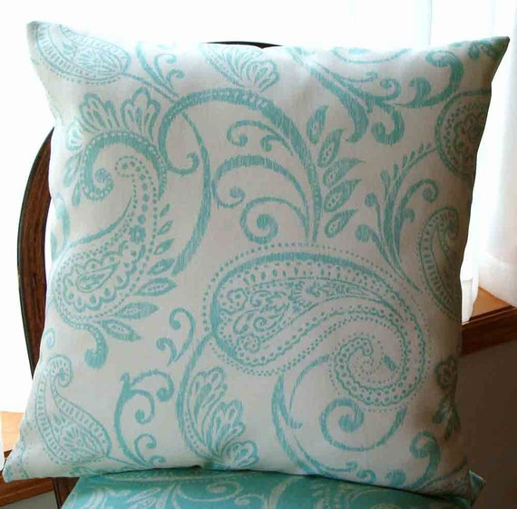 Pillow Cover - FREE SHIPPING - Robin Egg Blue Paisley on Cream Background  - 1 - 18 inch - Zipper closure