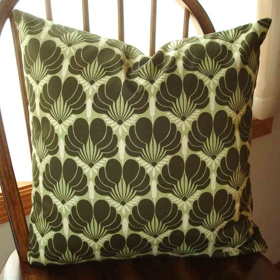 Pillow Cover in  Amy Butler's Imperial Fans in Celery  18 inch with Zipper closure