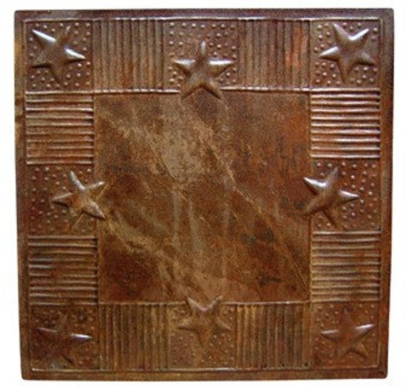 Items Similar To 12 Rustic Rusty Tin Ceiling Tiles PATRIOT