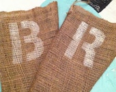 Rustic - Burlap Christmas Stocking with Initial - Custom - Elf - Rustic French Style  - Potato Sack
