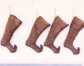 Rustic - Burlap Christmas Stocking - Elf - Rustic French Style