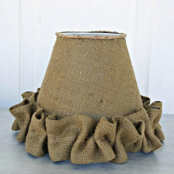 Burlap Lamp Shades : Items similar to shabby chic burlap lamp shade with