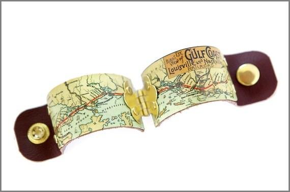 Gulf Coast antique map cuff