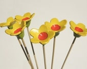 Tiger Lily - bouquet of 6 Sunny Yellow hand made Decorative clay flowers