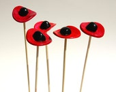 Resrved for mandana1365 Poppies Field 3 Decorative poppy flowers on a stand hand made