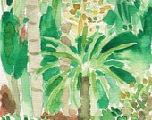 My Enchanted garden original water color painting of the view from my studio