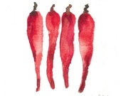 4 Red Hot Chili Pepper in a row original watercolor painting in hot reds rust and Bordeaux