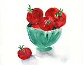 Tomatoes in a bowl No.2 watercolor painting in Red and Mint green