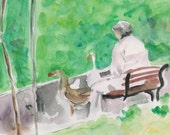Feeding the Geese an original watercolor painting , Pastoral, relaxed , Landscape, Scenic, mothers day, outdoor, park - TheJoyofColor