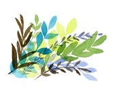 Foliage  Print of Original  watercolor painting of colorful  leaves in fresh colors of turquoise, purple, blue, and green, modern, abstract - TheJoyofColor