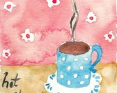 Love hot Chocolate Print of original watercolor painting  soft pastels colors, cozy shabby chic,limited edition