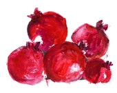 Pomegranates Art  print of original painting Acrylic on paper still life, in deep ruby red, rustic bold wall art, home decor, kitchen art