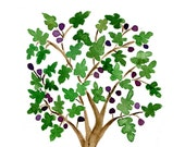 The Fig Tree Print of  original watercolor painting in Green and purple , Folk art inspired, Mediterranean, mountain of spices,mothers day