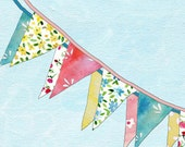 16X11 Bunting  art print of colorful triangle bunting, limited edition