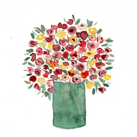 Colorful bouquet  print of original  watercolor painting , Still Life. mother's day, Green, Red, Pink, shabby chic, floral