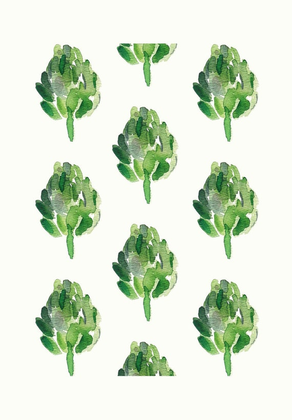 Artichokes  Art Print  limited edition, moss green, kitchen decor, cottage chic, print of watercolor painting,