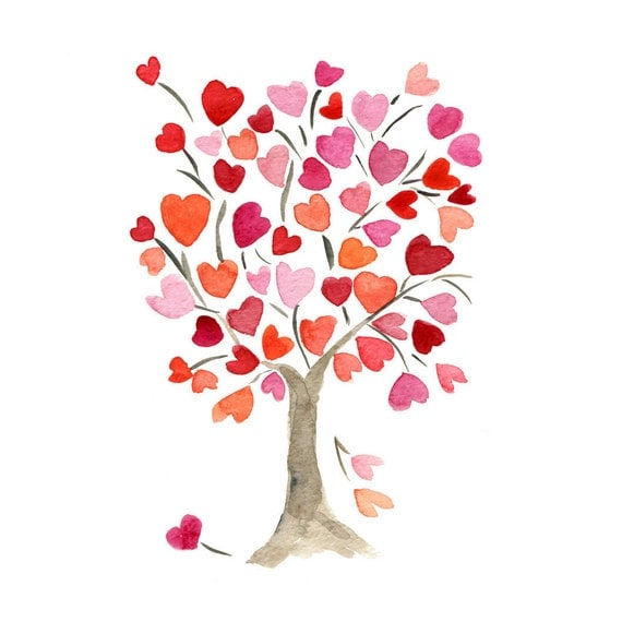 The Hearts Tree,  Art Print of original watercolor painting, anniversary, valentine day, birthday, girly, mothers day, weddings