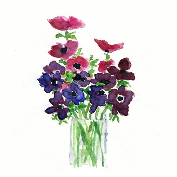 Anemone bouquet, Print of my original Still Life, watercolor painting, Purple Fuchsia and Green limited edition, mothers day, floral art