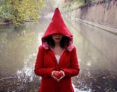 Alice Wonderland  red coat handmade with recycled pet and cotton vichy