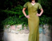 Vintage Green Dress 30s - 80s Bias Cut Olive with Black Polka Dots and Flutter Sleeves, Fishtail Hem
