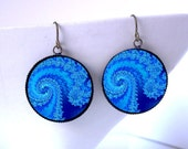 Ocean Waves Fractal Earrings -Psychedelic Burning Man Jewelry - Hippie Boho Raver Burner