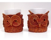 ON SALE-Owl Mugs - Rustic Cottage Chic Wicker Mug Cozies with Ceramic Cups - OOAK 1970s