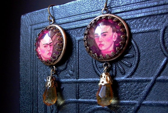 Frida Kahlo Earrings Amber Topaz Crystal Drops Antique Bronze Dangles - Frida Kahlo Jewelry
