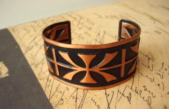 70s Copper Boho Cuff -Bold Design - Jewelry For Men and Women