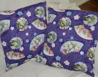 Set Of 2 Purple & Gold Accented Oriental FANS 16 Inch Throw Pillow Cushion Covers - Made with Kona Fabrics And Thick Quilting Cotton