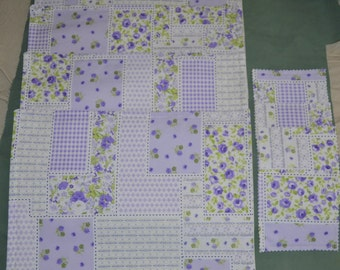 Set Of 4 Shabby Country Purple ROSE Garden Table Placemats PLUS  4 Drink Coasters - Whites lavenders and lime greens