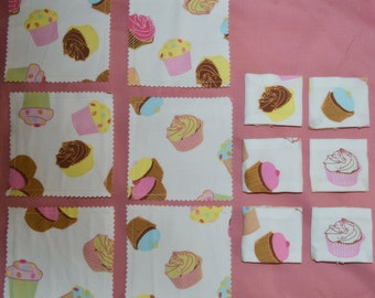SALE 6 Pretty CUPCAKES Triple Layer Fabric Napkin Rings PLUS 6 Drink Coasters - Pretty lemons pinks blues browns and greens