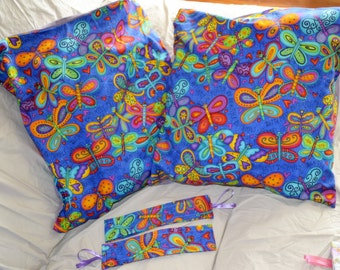 Set Of 2 Rainbow BUTTERFLIES In BONNETS 16 Inch Throw Pillow Cushion Covers PLUS 2 Matching Curtain Tiebacks