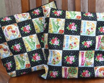 Set Of 2 Cotton 16 Inch LILIES Cupids & ROSES Throw Pillow Cover - Made with quality designer cottons and quilting cottons