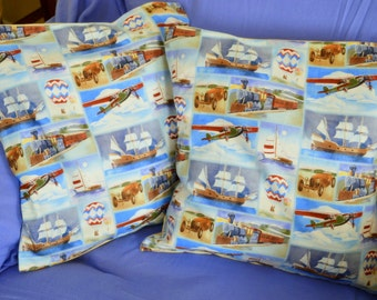 Set Of 2 Ship BOATS CARS Trains And Planes 16 Inch Cotton Throw Pillow Cushion Covers - Made With Thick Luxurious Quilting Cottons