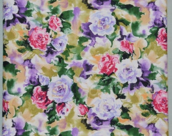 Shabby Vintage Style Watercolour ROSES 32.4 x 9.6 Inches Triple Layer Reversable Reversible Cotton Table Runner PLUS 4 Drink Coasters
