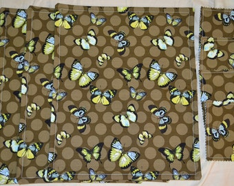 Set Of 4 Aqua And Lime GREEN BUTTERFLY on Dark Olive Triple Layer Cotton Placemats PLUS 4 Drink Coasters