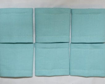 SALE 6 AQUA Cotton Triple Layer Napkin Rings - See my shop for lots of colours available.