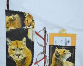 Closeout SALE Wild Mountain COUGARS Cotton 3 Pocket Business Card Case Wallet PLUS Belt Hang Glasses Cell Phone Mobile Sunglasses Case
