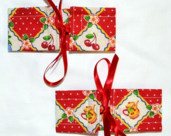 4 SMALL Red And Ivory POLKA DOT Cherries & Teacups Wrap N Tye Cotton And Shimmery Ribbon Bow Curtain Cuff Tiebacks