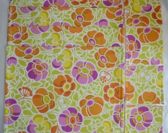 9 Pce Set Of 4 Orange & FUSCHIA WILDFLOWERS Triple Layer Cotton Table Placemats PLUS 4 Drink Coasters Plus Table Runner