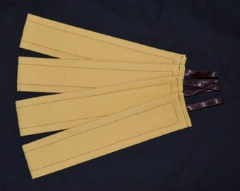 2 Tuscan GOLD Straw With Chocolate Brown Decorative Stitching & Ribbons Curtain Tiebacks - See my shop for other colours