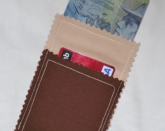 Closeout SALE Chocolate & Sand BROWN Cotton 3 Pocket Business Card Case Pocket Wallet Card Cash Coin Purse  - Jean Shirt Blouse Pockets