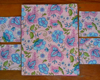 5 Pce Pink Jacobian FLOWERS Triple Layer Reversible Reversable Cotton Table Runner 38.6 X 11.9 Inches PLUS 4 Drink Coasters