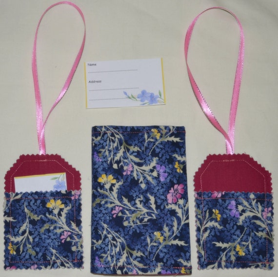 Midnight Blue FLOWERS Dual Passport Wallet Or Coupon Organizer PLUS 2 Luggage Tags - See my shop for lots of other lovely designs