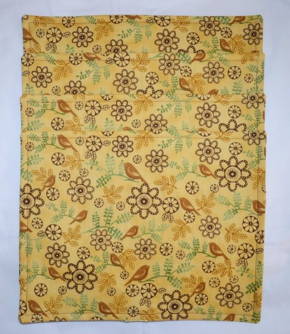4 Honey & Brown PERCHING BIRDS Triple Layer Cotton Table Placemats PLUS Matching Table Runner