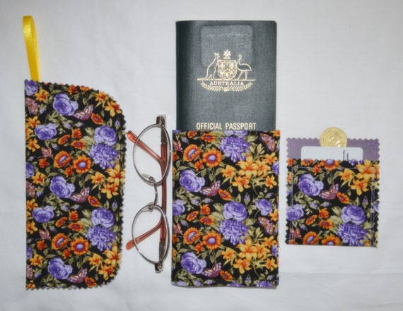 pretty purple roses  u0026 butterflies passport wallet or coupon