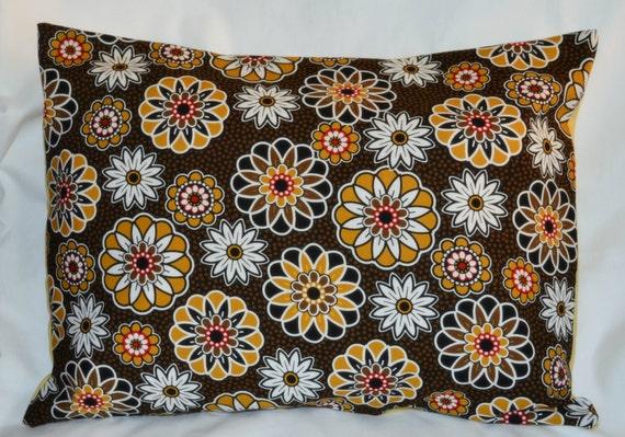 Retro Modern MUSTARD Black & Red FLOWERS Cotton 12 x 16 Inch Lumbar Throw Pillow Cushion Cover